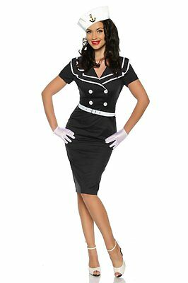 Sexy Pin-Up Vintage Kleid mit Matrosen-Kragen Rockabilly Kostüm 50er Jahre