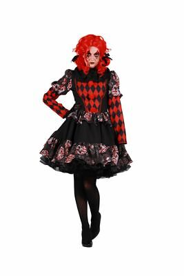 The - Damen Kostüm Horror Clown Kleid schwarz Halloween Fasching