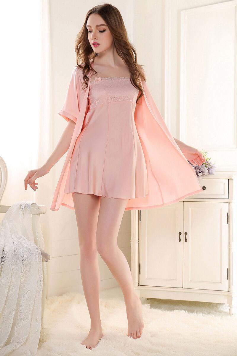 3df4eecbc3 Nuevo lindo lujosas damas de satén rosa Sexy mujer conjunto camisón camisón  albornoz