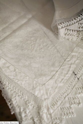 Antique French coffee TABLECLOTH damask linen CROCHET embroidered J m c1900