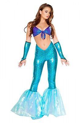 Meerjungfrau Kostüm blau lila Hose Top Fasching Karneval Größenwahl (2 Teiliges Meerjungfrau Kostüm)