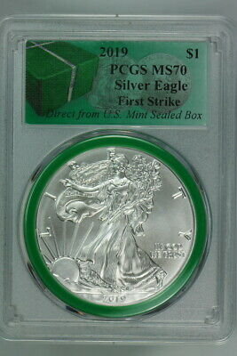 PCGS MS70 FIRST STRIKE 2019 AMERICAN SILVER EAGLE $1 DIRECT FROM MINT SEALED BOX