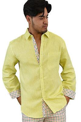 Mens Bohio 100% Tropical Linen Yellow Casual Long Sleeve Shirt (S ~ 2XL)- MLS264