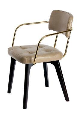 Messing Metall Stuhl (Designer Stuhl Retro Polsterstuhl Leder Gold Messing Esszimmerstuhl Beige)