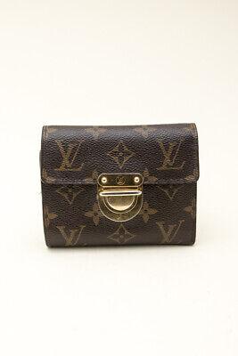 LOUIS VUITTON VTG Eugenie VE Monogram Canvas Brown Push-Lock Flap Trifold Wallet Push Lock Wallet