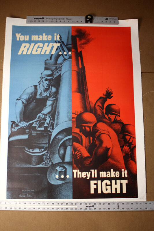 You Make it Right, They Make it Fight (1942) Art by Bernard Perlin WWII Poste...