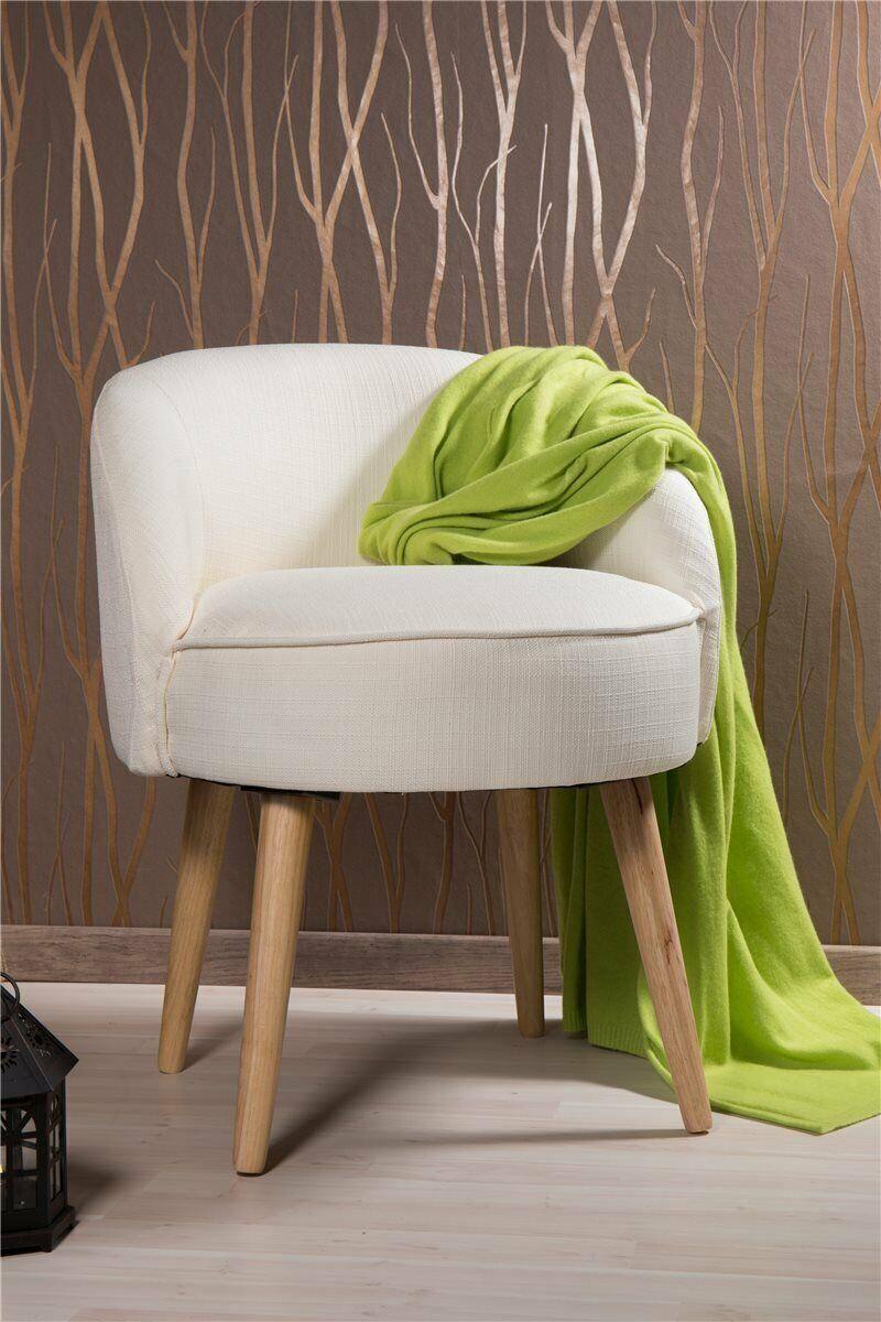 Kleiner Hocker Sessel Stuhl mit Lehne creme weiß *487