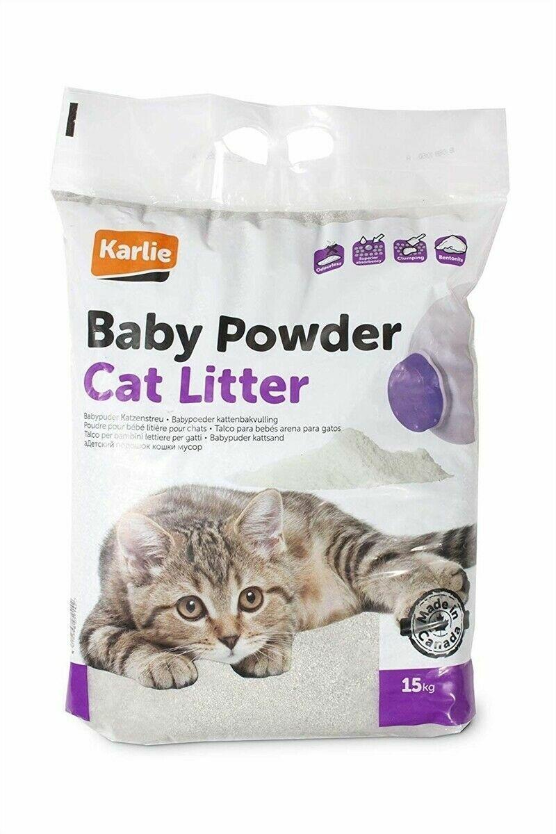 Karlie Katzenstreu 15 kg mit Babypuder Duft Betonite