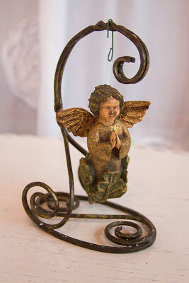 "Vintage Renaissance 4.5"" Praying Angel Holiday Ornament Plaster Antique Look"