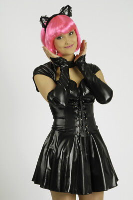 2 tlg. Sexy Katzen Cat Kostüm Wetlook Optik Damen, Kleid Armstulpen schwarz ()