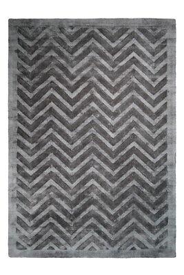 Linien Zick Zack Muster Teppiche Viskose Teppich Marineblau Grau Anthrazit