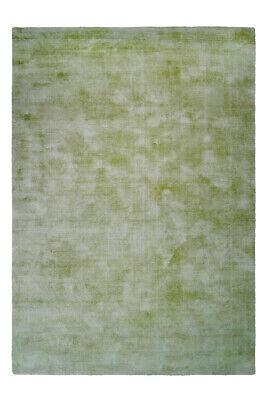 Flachflor Teppich 100% Viskose Handgewebt Teppiche Kurzflorteppich Edelgrün