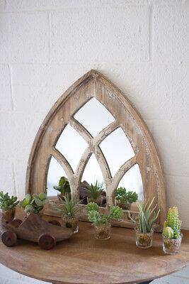Gothic Roguish Cottage Chic Shabby Distressed Finish Victorian Short Church Mirror