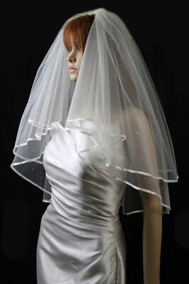 Bridal Veil Diamond (Off) White 2 Tiers Elbow Length With Scattered Rhinestones (Diamond White Veils)