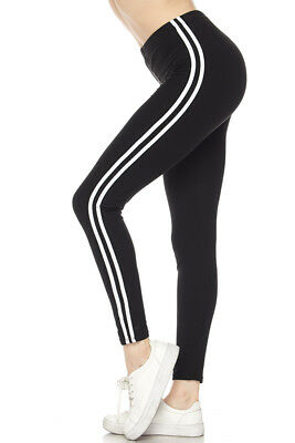 Solid BLACK white Side Stripe Leggings Sports Active Leggings ONE SIZE OS 2-12