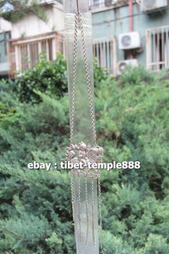 46CM China Miao Silver Tongzi Children Boy Ride Kylin Amulet Necklaces & Pendant