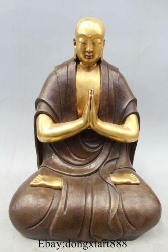 "20"" Tibet Buddhism Classic Temple Pure Bronze Copper 24K Gold Arhat Monk Statue"