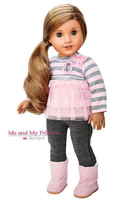 STRIPED PINK TOP + LEGGING PANTS + BOOTS for 18 inch American Girl Doll Clothes
