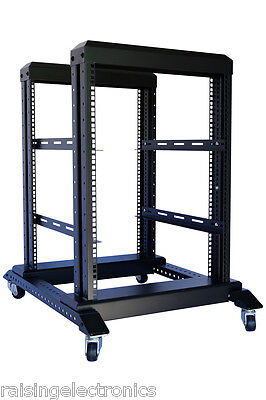 "NEW 15U 4 Post Open Frame 19"" Server/Audio Data Steel Rack 31.5"" Deep 1000MM"