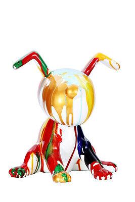 Figura Decorativa Perro Escultura Estatua Deco Splash de Colores Oro Verlaufen