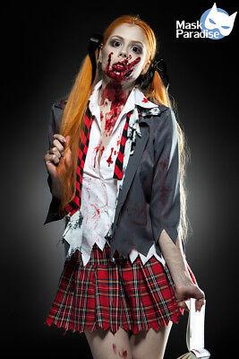 5 tlg Sexy Zombie Schoolgirl Komplettset Kostüm Damen - School Girl Kostüm
