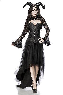 5 tlg Gothic Dämonen Teufel Kostümset, Damen extravagant, schwarz S M L -