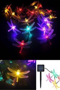 Outdoor Solar Powered 30 LED Dragonfly String Lights Garden Patio Yard Decor
