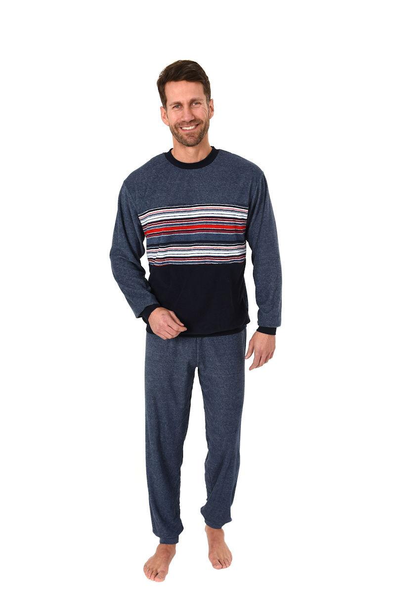 Herren Frottee Pyjama Rundhals Ringel Motiv Uni Hose Bündechen 62324