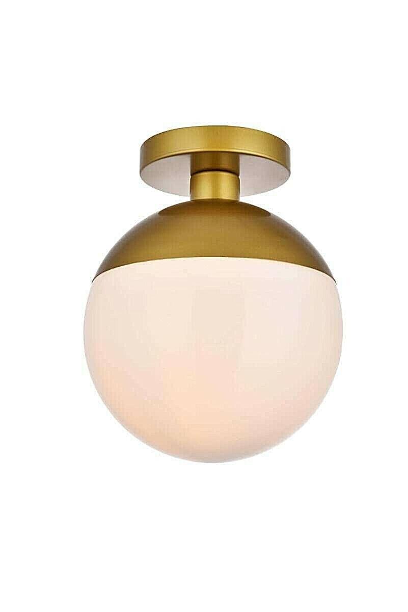 "Elegant Lighting Eclipse Light 10"" Semi-Flush Brass Globe Ce"