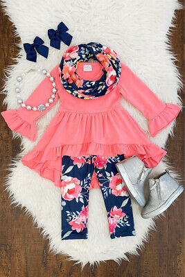 Boutique Toddler Kids Baby Girl Tops Dress Floral Pants Leggings Outfits Clothes