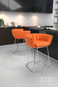 Zuo Latte Faux Leather Counter Ht Bar Stools -Orange – Set of 2