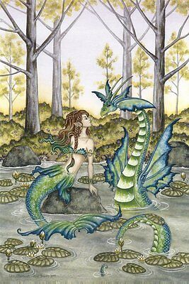 "Amy Brown Fairy Faery Fantasy Art Print 6""x9"" Lazy Afternoon Sea Dragon Mermaid"