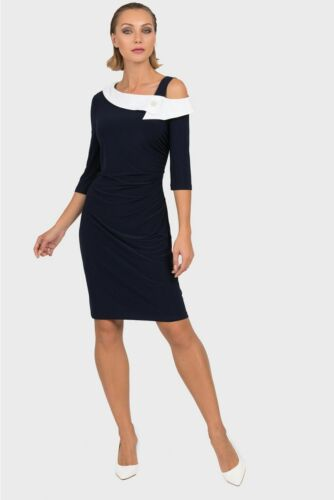 Joseph Ribkoff Blue/White Ruched Asymmetric Neck Sheath Dress 192441 NEW