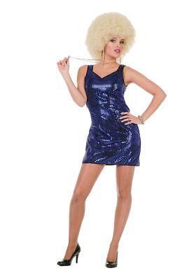 WIL - Minikleid Pailletten Kleid blau Karneval Fasching Show - Blaue Pailletten Kleid Kostüm