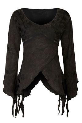 Gothic Mittelalter Witchy Zipfel Top Shirt bestickt S M L XL  XXL schwarz grün
