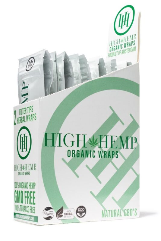 High Hemp Organic Wrap 25 Pouch in Full Box 2 in a Pouch 50 Wraps