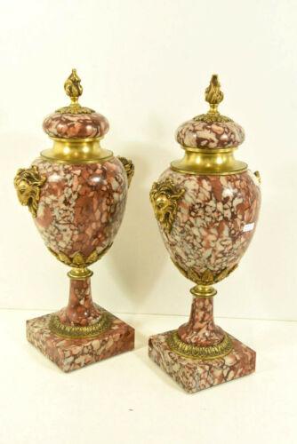 Antique PAIR marble bronze ram heads Vases