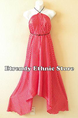 Clearance Polka Dot Red & White Silk Multi Scarf  Maxi Halter Dress Maternity - Clearance Clubwear