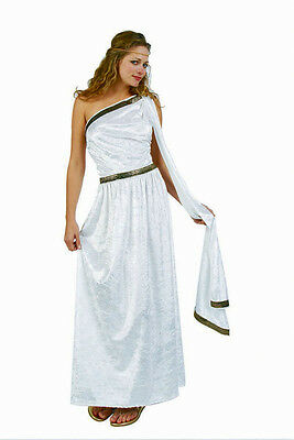 ADULT WOMAN FEMALE TOGA GREEK GODDESS COSTUME ROMAN EMPRESS WHITE PURPLE RED - Female Toga Costume