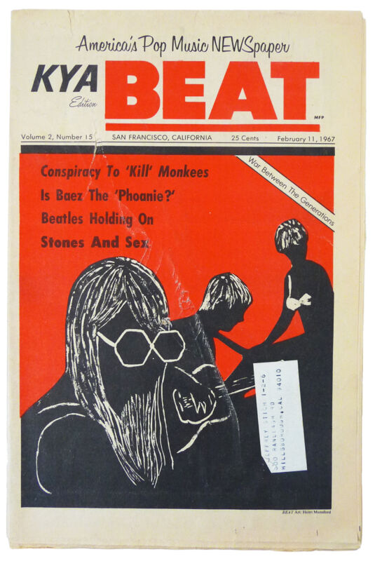 Vintage SF KYA BEAT NEWSPAPER (Feb 1967) BEATLES Kids, Drugs, LSD ROLLING STONES