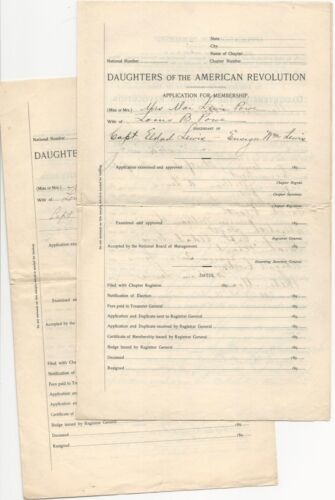 Two 1890s Partially-Filled Daughters of the American Revolution Applications