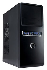 CiT 1018 Black/Silver ATX Midi Tower PC Gaming Case With 500W PSU USB Audio