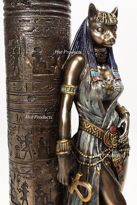 Egyptian Cat Goddess Bastet Candle Holder Statue Sculpture Antique Bronze Finish