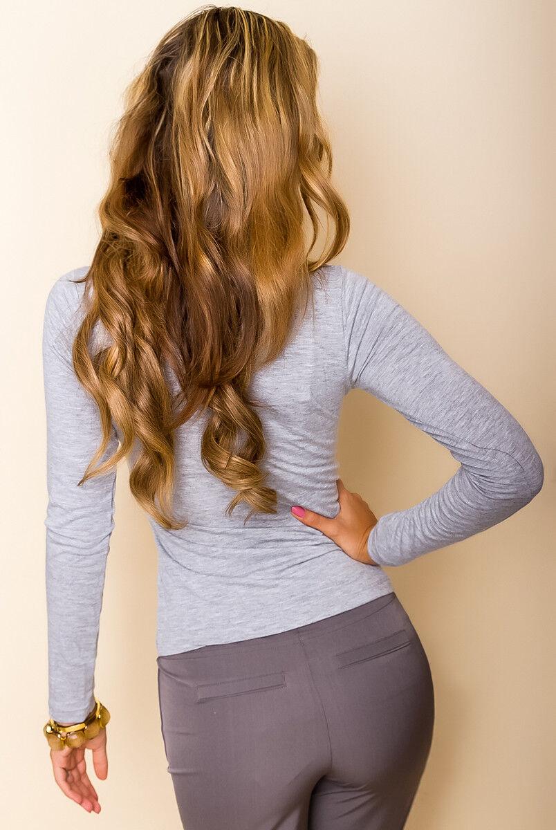 Damen Shirt Basic Bluse Longsleeve Top Pullover Pulli Langarm Tailliert 36-40