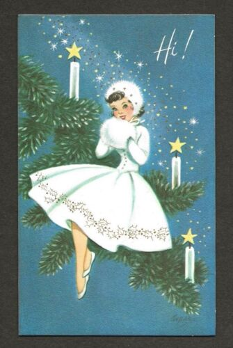 UNUSED 50s Lovely LADY in White, Fur Muff Vintage Marjorie COOPER GIBSON Card