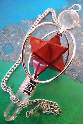 RED JASPER CRYSTAL SPINNING MERKABA DOWSING PENDULUM WITH QUARTZ POINT AND POUCH