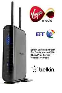 Belkin N+ Wireless Router 300 Mbps 4 Port Gigabit Cable Virgin Media F5D8235 New