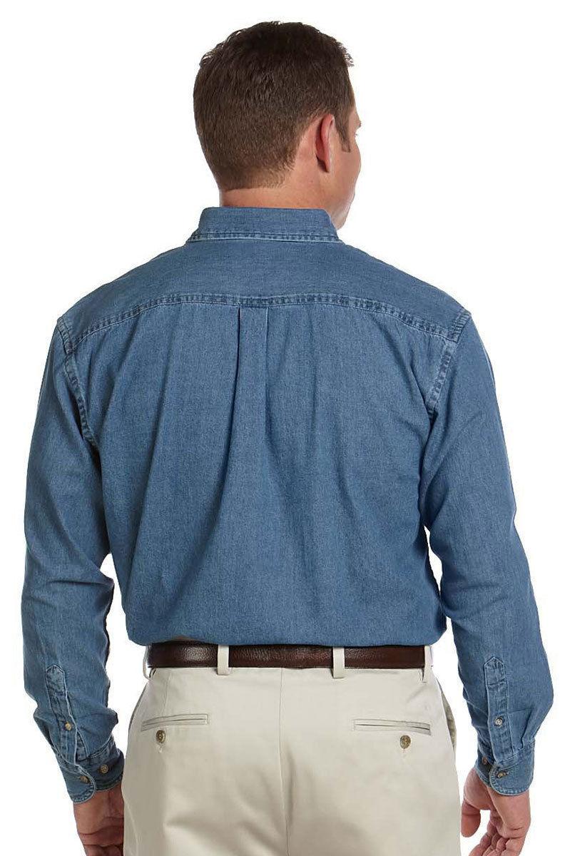 d22eb34685 Harriton Men s Chest Pocket Button Down Collar Long Sleeve Denim Shirt. M550