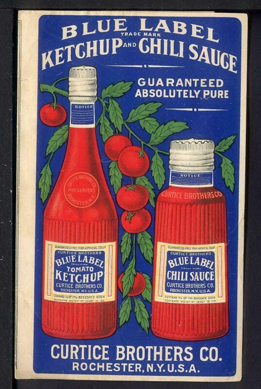 1920 Blue Label Ketchup & Chili Sauce Ad Folder Curtice Bros Rochester NY Catsup