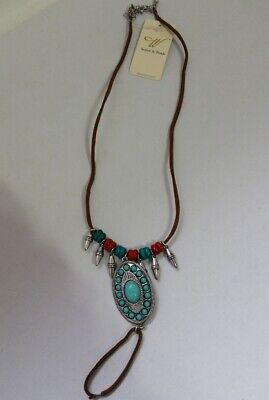 Western Brown faux Leather Silver Turquoise bead medallion Ankle Foot N13-9/22 ()